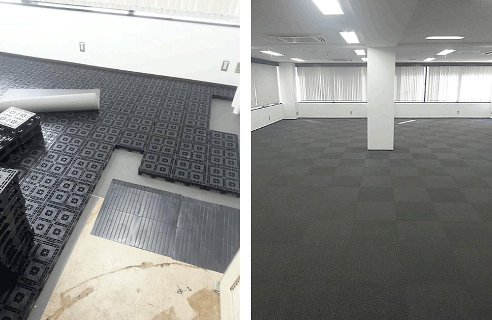 置き敷きタイプのOAフロアとタイルカーペット工事