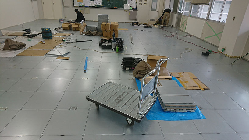 学校のOAフロア改修工事