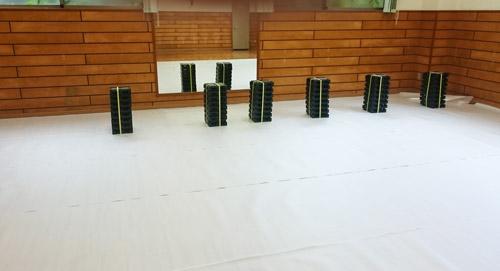 室内運動場のOAフロア工事
