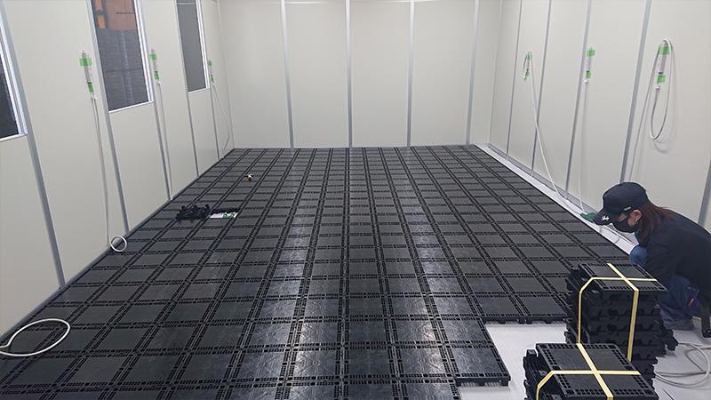 BF50RとGA100を使用した倉庫内事務所化のOAフロア工事